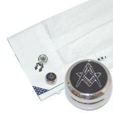 Rhodium Plated Plain Masonic Cuff BUTTON COVERS Freemason Mason Present Gift Box
