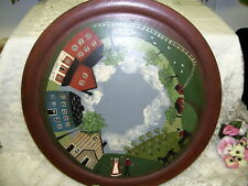 "FOLK ART WOOD PLATE 14"" AMISH COUNTRY SCENE BY J. PROBERT 1986"