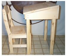 CHILD'S CHAIR & DESK WITH STORAGE AND FLIP TOP UNFINISHED PINE WOOD MADE IN USA