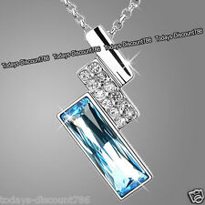 Silver & Blue Crystal Necklace Chain Love Xmas Gifts For Her Wife Daughter Women