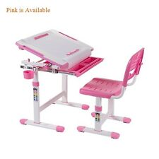 B203 Healthy Ergo Study Desk & Chair Set Pink w/Paper Roll Holder, H-Adjustable