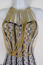 New Women Gold Metal Choker Long Chains Fashion Necklace Silver Rhinestones