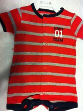 Carter's One-Piece Romper Red & Gray Stripe Navy Trim All-Star SS 9M NWT