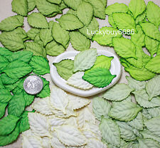 50 Leaves Rose Green Mulberry Paper Leaf Scrapbook Craft Wedding Card Artificial