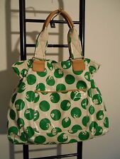 JUICY COUTURE GREEN POLKA DOT COATED CANVAS TOTE TRAVEL BAG