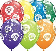 Day of the Dead Sugar Skulls 5 Latex Balloons Qualatex Party Helium