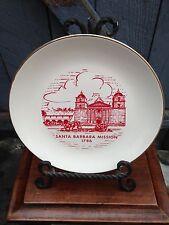 Vintage Sabina Line 22K Warranted Gold Red Ivory Santa Barbara Mission Plate