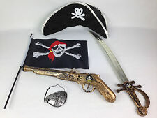 Kids Adult Pirate Set Pistol Sword Eyepatch Hat Flag Fancy Dress Pirates Party