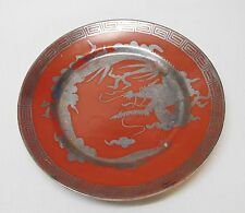 Dragon Plate Red Rust and Silver with Designs Hand Painted MM Nippon Vintage