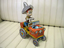 Unique Art Rodeo Joe Crazy Car Wind Up Lithographed Tin Toy