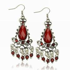 VTG Stunning Red Diamante Teardrop Chandelier Tassel Fringe Dangle Gem Earrings