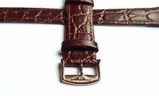 18MM LONGINES CROCO GRAIN LEATHER WATCH STRAP BROWN ROSE GOLD PLATED BUCKLE