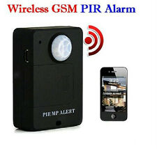 Blk Wireless PIR Sensor Motion Detector GSM Alarm System Monitor Remote Control