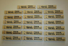 "20 NEW WOODEN TOY TRAIN WHISTLES 6"" WOOD LOCOMOTIVE RAILROAD CHOO CHOO WHISTLE"
