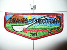 OA Braves Of Decorah Lodge 381,S-1a,1970s,BRN Lock,SS,PB,Flap Patch,1st Solid,WI