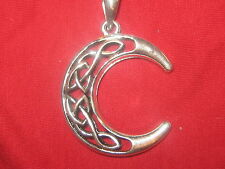 40MM ANTIQUE SILVER WICCAN IRISH IRELAND CELTIC CRESENT MOON PENDANT NECKLACE