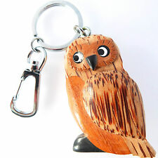 HANDMADE, FAIR TRADE INLAID WOODEN OWL CARABINER KEYRING.