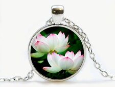 lotus flower Cabochon Silver plated Glass Chain Pendant Necklace Y4~