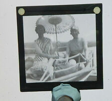Glass Magic lantern slide young ladies on river boat /large slide auction