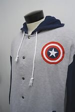 CAPTAIN AMERICA Marvel Comics button snap hoodie pullover 2XL (50/52) mens #8563