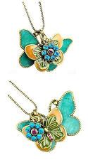 collana Doppia  farfalla- ciondolo butterfly necklace con cristalli