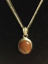BEAUTIFUL STERLING SILVER GEMSTONE CARNELIAN AGATE PENDANT NECKLACE