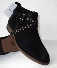 NWT MANGO Black Suede Studded Buckle Western Style Ankle Boots UK Size 5