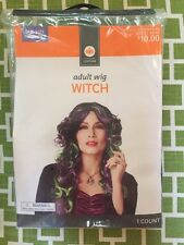 NWT Adult Black Purple Green Witch Wig  Halloween Costume Long Hair 80's Hair