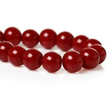 1 String 8mm ca. 106 Pieces dark red Glass pearls beads round DIY handicrafts
