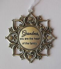 q Grandma you are the heart of family Loving Thoughts ORNAMENT crystal Ganz