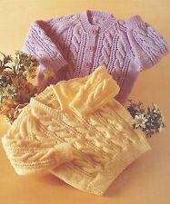 """BABY KNITTING PATTERN DK CABLE CARDIGAN & JUMPER 18-28"""""""