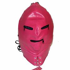 TheSexShopOnline - Bondage Faux Leather Pink Lace Up Gimp Mask / Hood With Zips