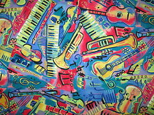 MUSIC INSTRUMENTS NOTES GUITAR KEYBOARD HORNS VIOLIN BRIGHT COTTON FABRIC FQ