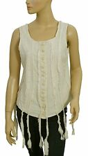 126359 New Ewa I Walla Lagenlook Lace Up Button Down Fringes Beige Blouse Top M