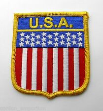 UNITED STATES USA FLAG SHIELD EMBROIDERED PATCH 2 X 3 INCHES