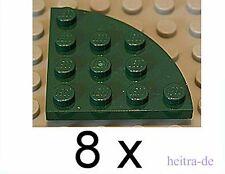 LEGO - 8 x Viertelrundplatte 4x4 dunkelgrün / Viertelkreis / 30565 NEUWARE (L12)