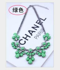 Women Fluorescence Crystal Statement Necklaces Chunky Alloy Flower Bib Necklace