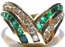EFFY BH 14K YELLOW GOLD 1.00CT DIAMOND & EMERALD COCKTAIL SHIELD RING SIZE 8