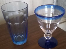 Collectible Lt.Cobalt Blue/Crystal Glass Wine Goblet & Water Glass
