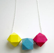 Gorgeous Handmade Geometric Wooden Bead Necklace. NEW. FREE POSTAGE!