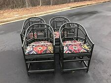 VINTAGE RATTAN BAMBOO CANE CHAIRS CHINESE CHIPPENDALE BRIGHTON 4!  Free Table!