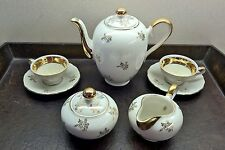 Vintage Bavarian Porcelain Coffee Tea for Two Set, including Sugar Bowl and Crea