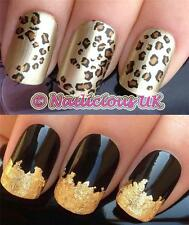 NAIL ART SET 461 ANIMAL LEOPARD PRINT WATER TRANSFERS/DECAL/STICKERS & GOLD LEAF