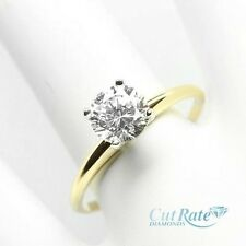 1.0CT ROUND BRILLIANT CUT SOLITAIRE ENGAGEMENT RING REAL 14K YELLOW GOLD