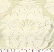 Braemore Grand Palais Ivory White Velvet Floral Woven Damask Fabric BTY