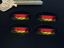 GERMAN Flag Fade to Black Oval Car Motorcycle Stickers 30mm Setof 4 GERMANY Bike