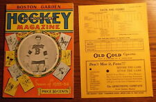 1933 Boston Bruins vs Ottawa Senators hockey program