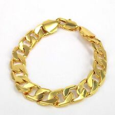25G STAMPED ITALY 12MM 24k Yellow Gold Filled Bracelet MEN'S WEAR