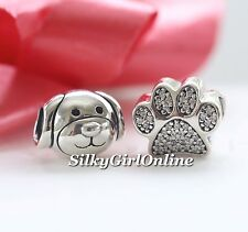 Pandora Gift 2 Charm Set  Devoted Dog Bead 791707 and Paw Prints Charm 791714CZ
