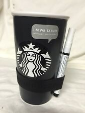 New Starbucks Black Writable Siren Mermaid Ceramic Tumbler 12 Fl Oz